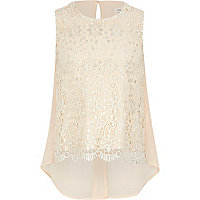 Girls beige lace foil top