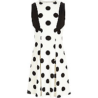 Girls white spot fit and flare dress