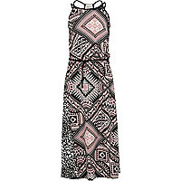Girls pink aztec print maxi dress