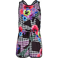 Girls black geo floral print playsuit