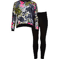Girls black scarf print jumper and leggings