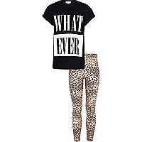 Girls black whatever t-shirt and leggings set
