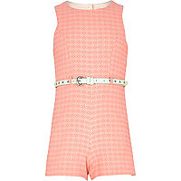 Girls pink geo aztec playsuit
