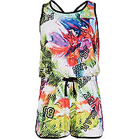Girls black tropical number print playsuit
