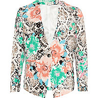 Girls cream floral snake skin blazer