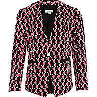Girls pink geo spot blazer