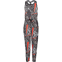 Girls black animal print jumpsuit