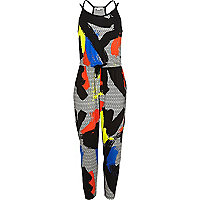 Girls black paint print jumpsuit