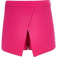 Girls pink textured crepe skort