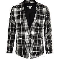 Girls black check collarless blazer