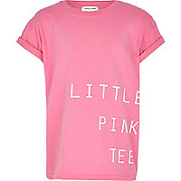Girls little pink tee print t-shirt