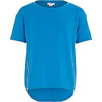 Girls blue zip front t-shirt