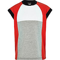 Girls red colour block t-shirt
