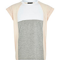 Girls light pink colour block t-shirt