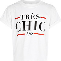 Girls white Tres Chic 1963 print t-shirt
