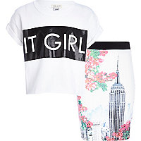 Girls white it girl top and tube skirt set