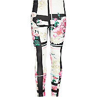 Girls black floral check leggings