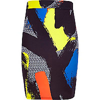 Girls black brush stroke print tube skirt