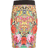 Girls pink baroque print tube skirt