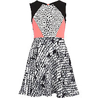 Girls black animal print skater dress