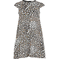 Girls cream animal print dress