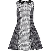 Girls black geo print fit and flare dress