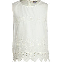 Girls cream embroidered top