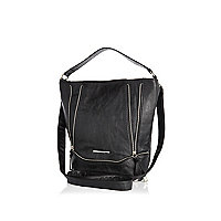 Girls black large crossover bag