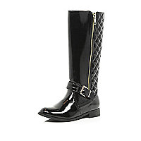 Girls black high shine long boots