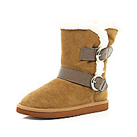 Girls brown croc strap suede boots