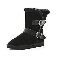 Girls black croc strap suede boots