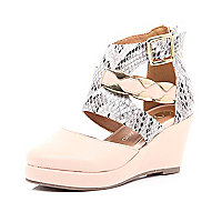 Girls beige snake print wedges
