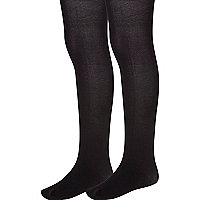 Girls black 2 pack tights
