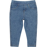 Mini girls mid wash denim look leggings