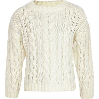 Girls cream cable knit crop jumper