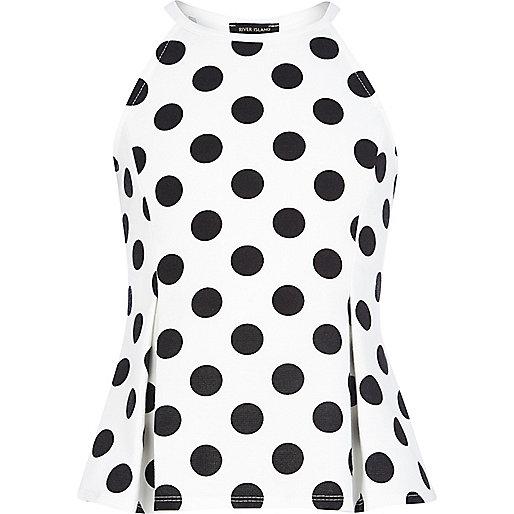 Girls white polka dot peplum cami top
