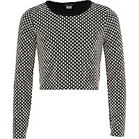 Girls black check long sleeve top