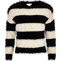 Girls black stripe fluffy jumper