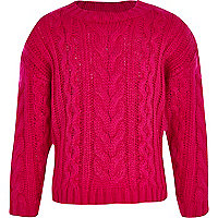 Girls pink cable knit crop jumper