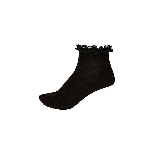 Girls black lace frill socks