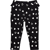 Mini girls black heart print leggings
