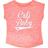 Mini girls coral Cali baby print t-shirt