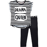 Mini girls black drama queen leggings set