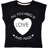 Mini girls black love and hugs t-shirt
