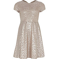 Girls gold metallic skater dress