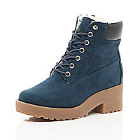 Girls blue lace up boots