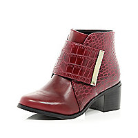 Girls red croc block heel boots