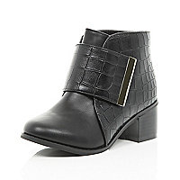Girls black croc block heel boots