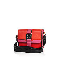 Girls red structured crossbody bag