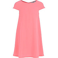 Girls pink crepe swing dress